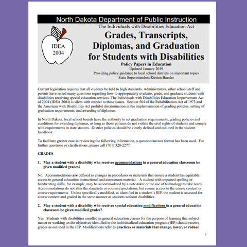 Grades, Transcripts, Diplomas, and Graduation for Students with Disabilities