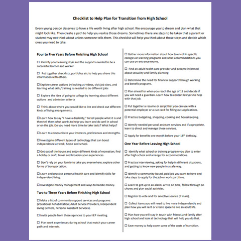 Checklist to Help Plan for Transition From High School