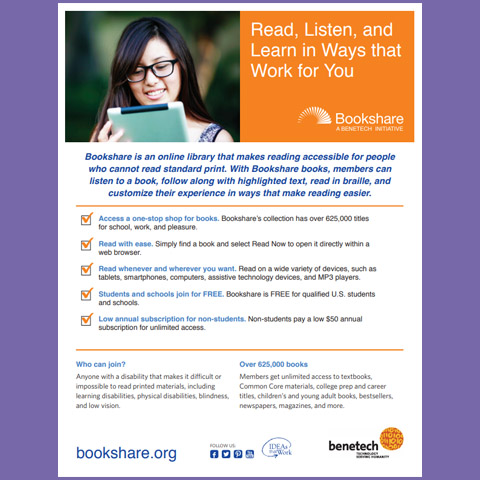 Bookshare: Read, Listen, and Learn in Ways that Work for You