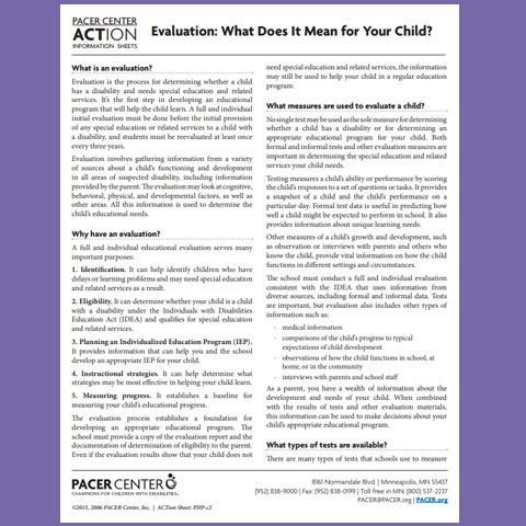 Evaluation: What Does It Mean for Your Child